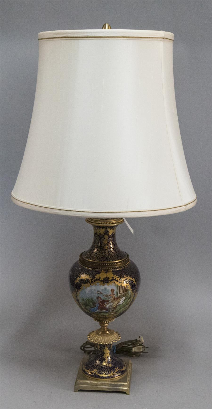 French porcelain and brass table lamp with silk shade