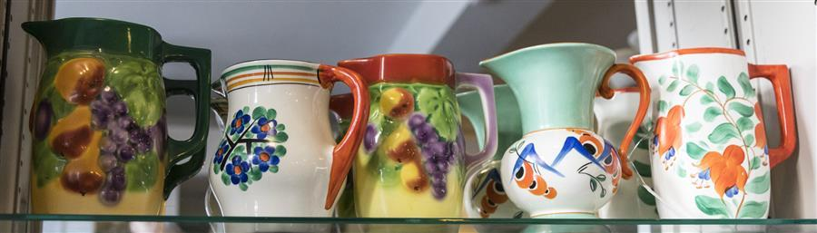 Five hand painted pitchers made in Czechoslovakia