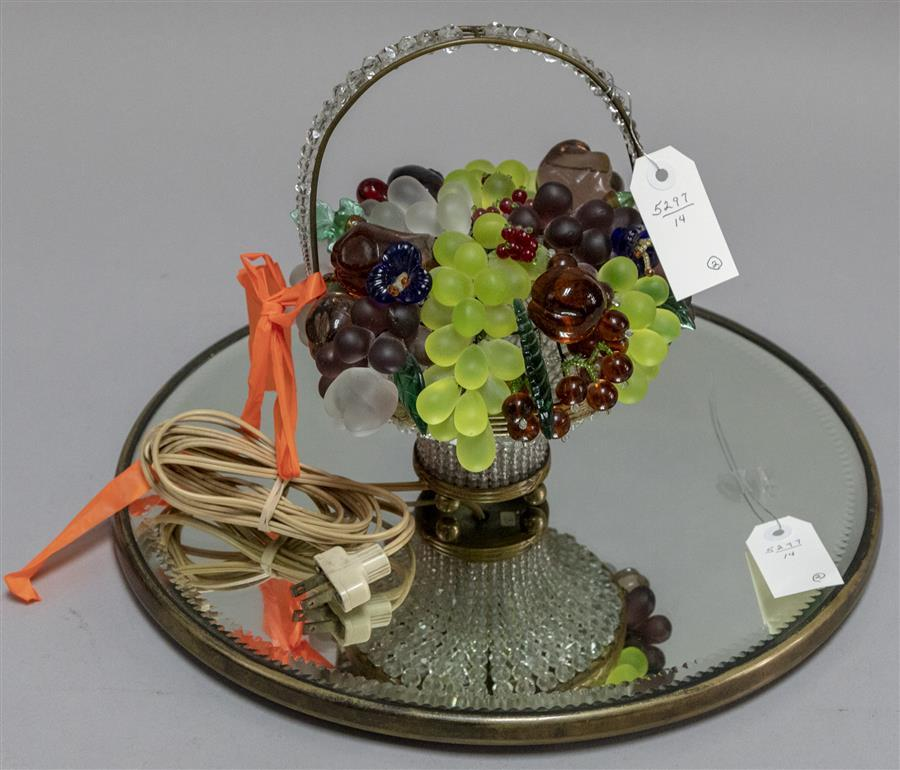 Circular mirrored plateau and a beaded fruit glass lamp made in Czechoslovakia