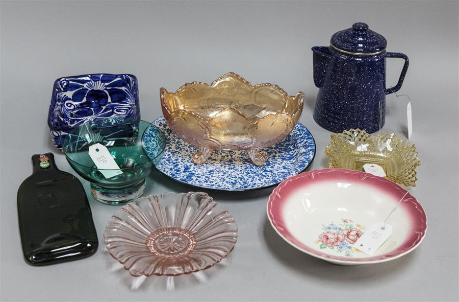 Assortment of items including a blue graniteware coffee pot, a graniteware dish, a pink depression glass bowl, a rectangular blue fl...