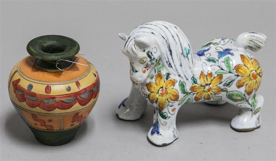 Floral decorated Italian faience figure of a horse and an incised and colorfully painted ovoid form jug vase