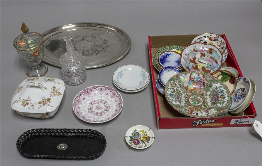 Assortment of antique and vintage porcelain plates, butter pats, two small glass compotes, a small plated silver tray, and more