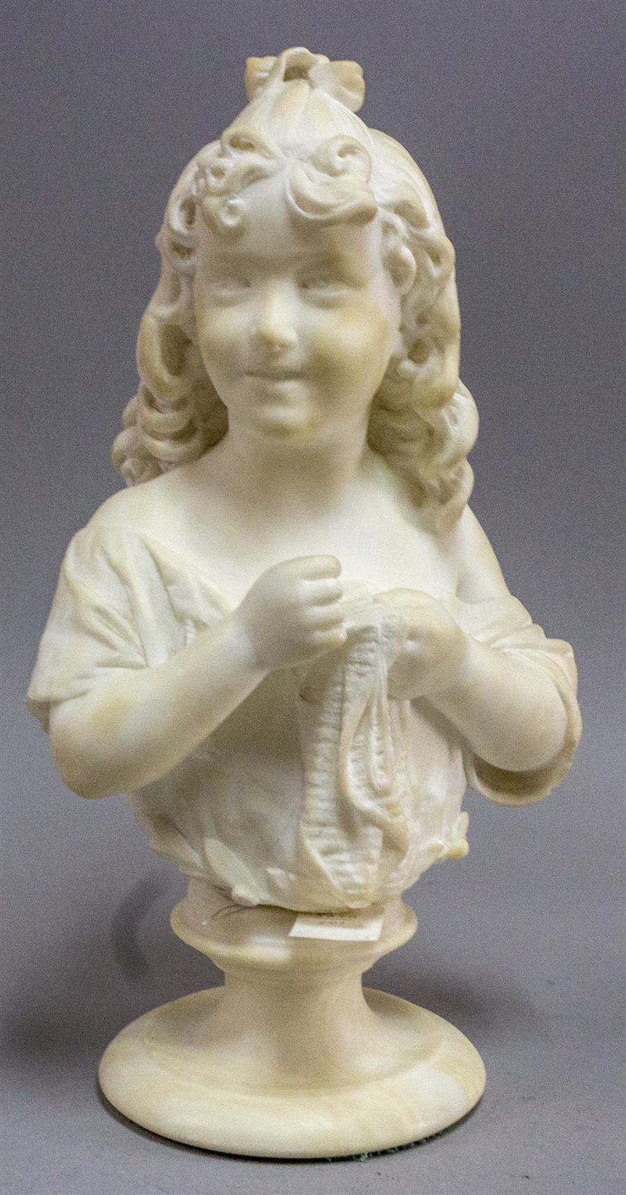Marble statue of a young girl sewing, with a marble base