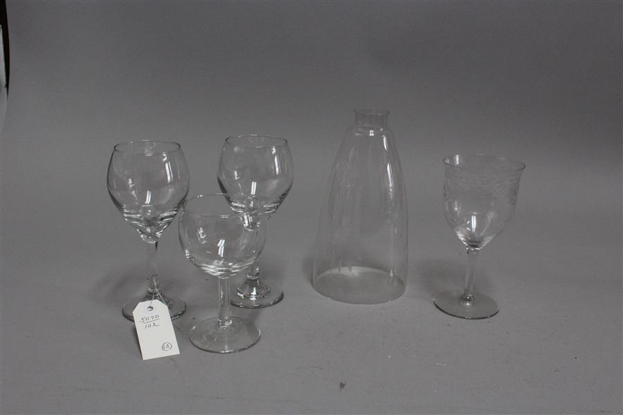Pair of etched hurricane shades and eleven wine glasses, some etched