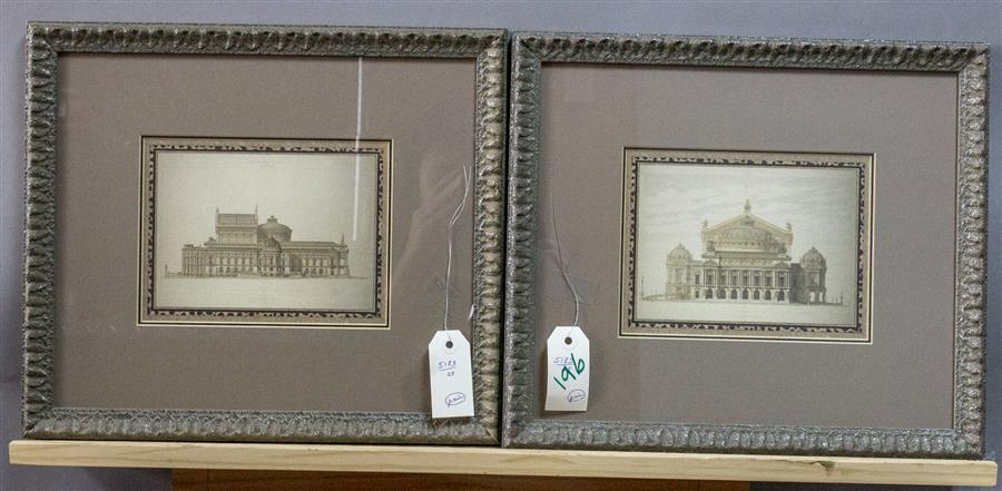 "Two framed prints one titled, ""Facade Laterale"" and the other ""Facade Principale"