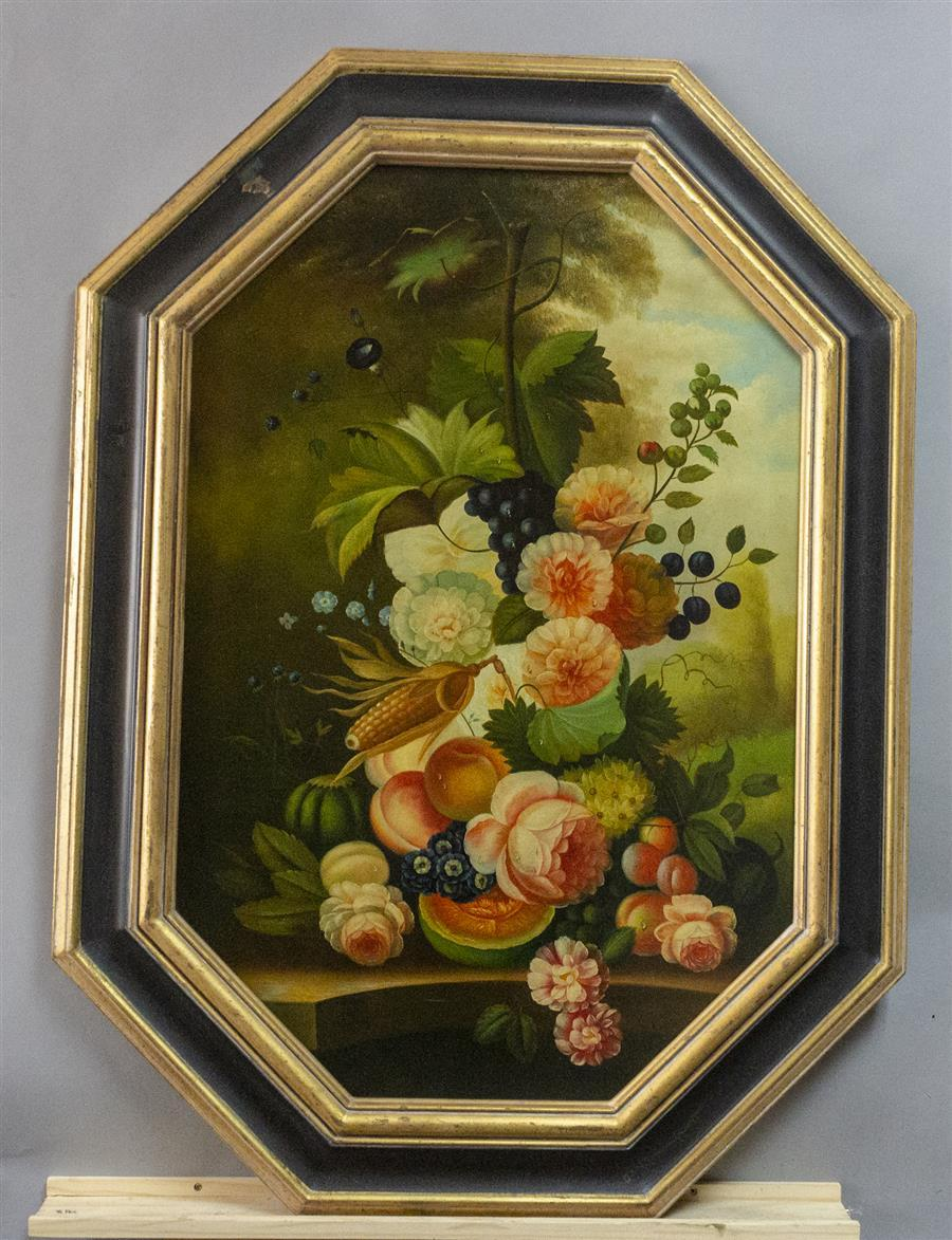 Floral still life on canvas in an octagonal frame