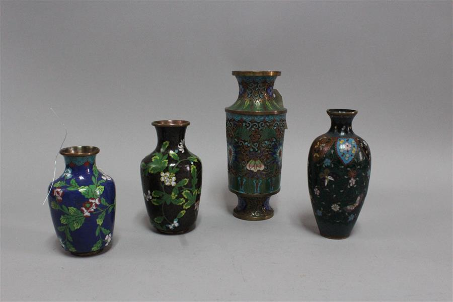 Four cloisonne vases (heights: 9 1/2 inches, 8 inches, 6 3/4 inches, and 5 3/4 inches)