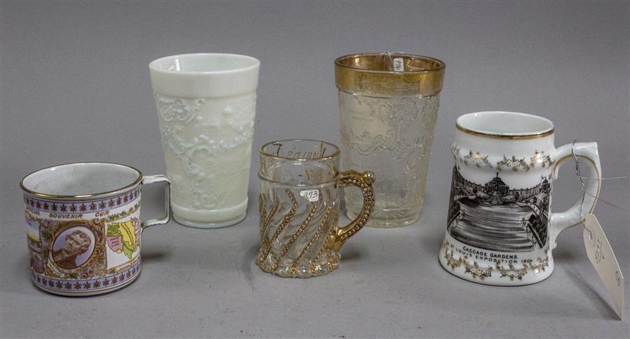 Assortment of five glasses and mugs, all from the 1904 World's Fair