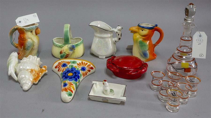 Assortment of various items including hand painted small pitchers made in Czechoslovakia, a covered crab sauce dish, a rooster ashtr...