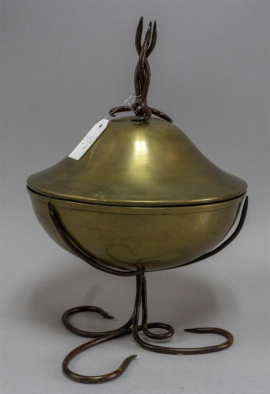 Unique brass lidded round bowl with abstract metal swirl base and finial; diameter 13 inches, full height with lid ornament 19 inche...