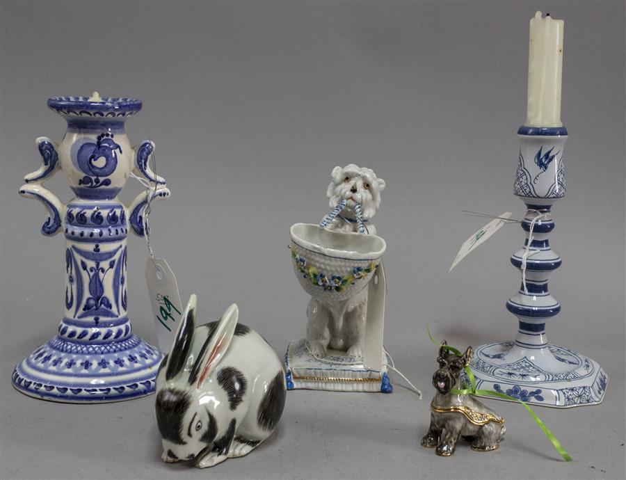 Collection of five items including a Delft candlestick, a blue and white porcelain candlestick, a rabbit figurine, a small trinket b...