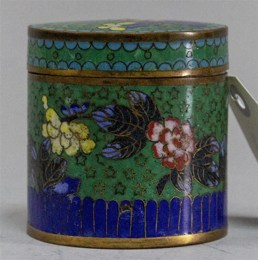 Chinese cloisonne lidded jar.