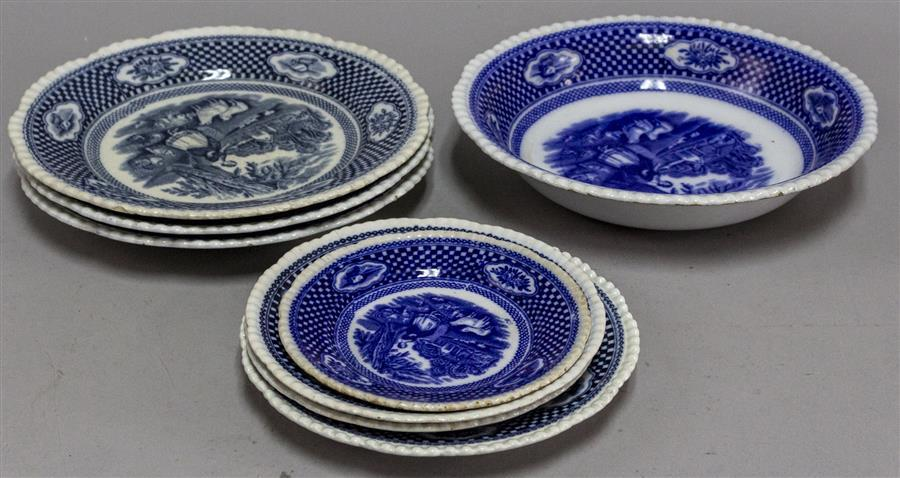 Group of eight Old English blue and white transferware plates.