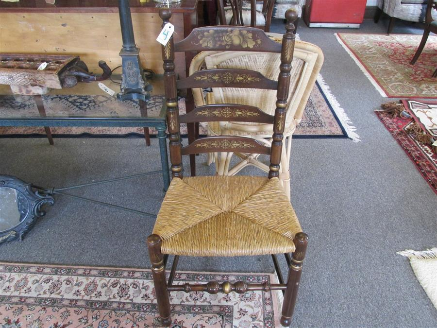Hitchcock design ladder back chair with gilt highlights