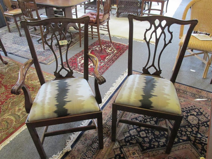 Lot 2: Councill Co set of eight mahogany dining chairs comprising two armchairs and six side chairs, each having reticulated splats on Marl...