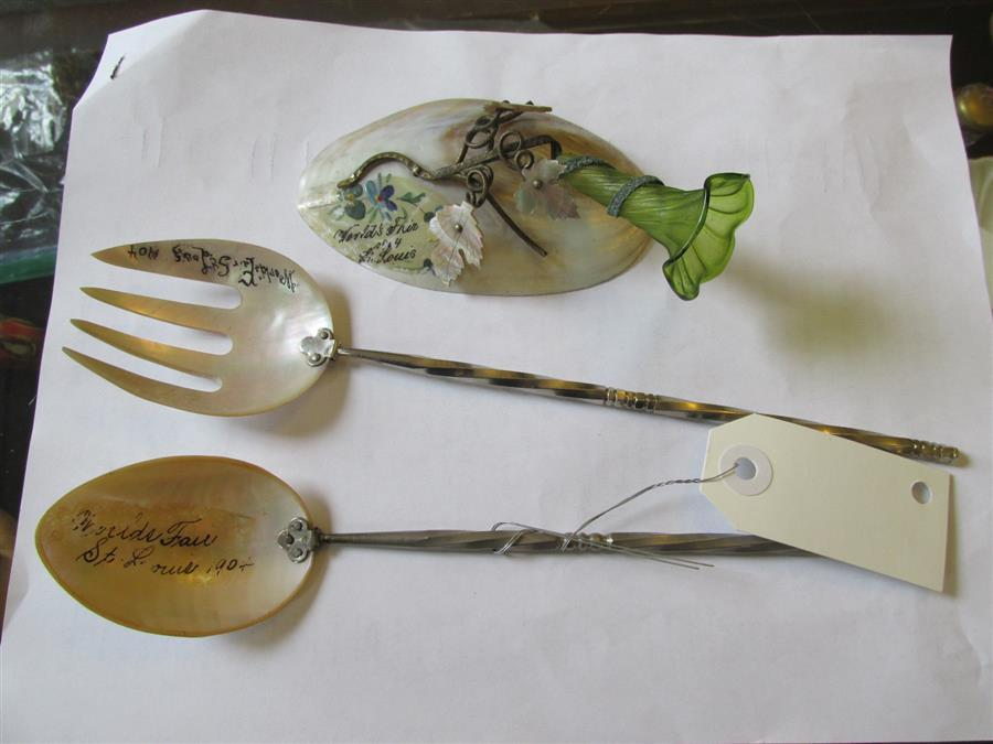 Clam shell with abalone leaves from the World's Fair and an abalone fork and spoon (both from the World's Fair)