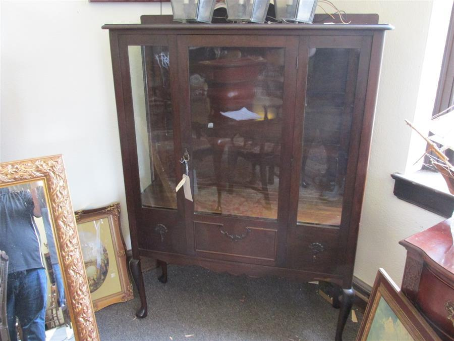 Early 20th Century American Display Cabinet with three shelves; height 59 inches, width 43 inches, depth 13 12 inches