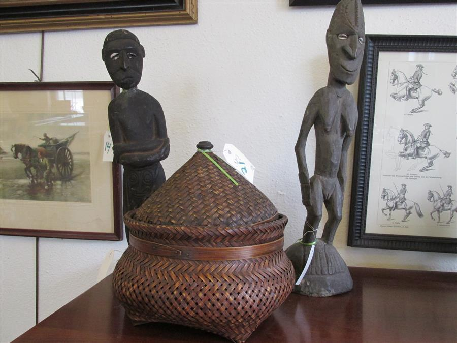Two carved wooden African figures and a lidded basket