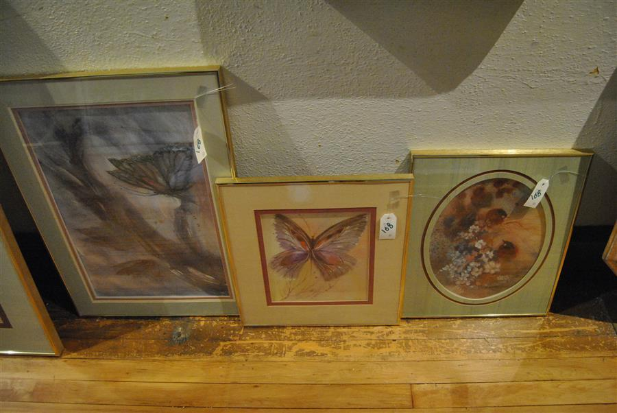 Four works of art by Crystal Jackson, framed