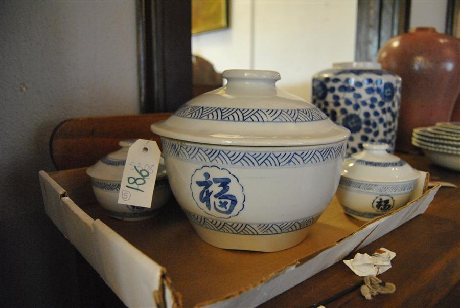 Mid Century Chinese blue and white tureen and soup bowl set