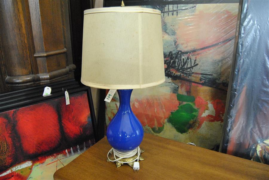 Blue porcelain table lamp with brass base