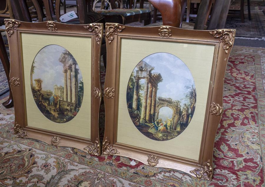 Four framed pieces of artwork including an oil painting on canvas, a framed abstract print, and a pair of framed neoclassical design...