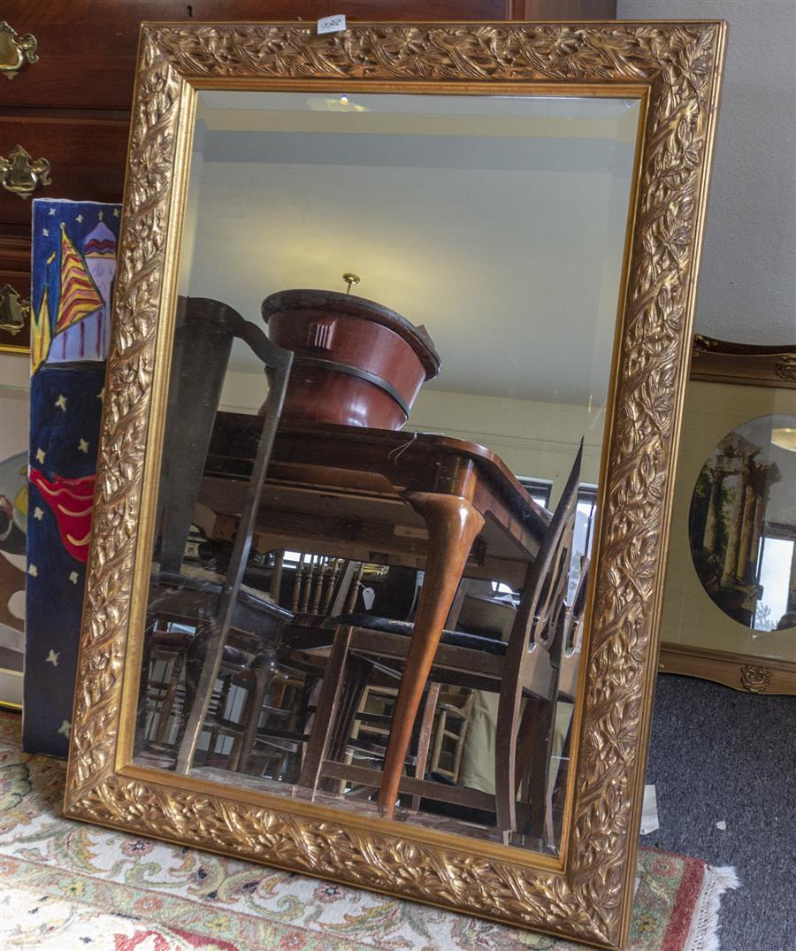 Gilt framed wall mirror (43 x 31 inches)