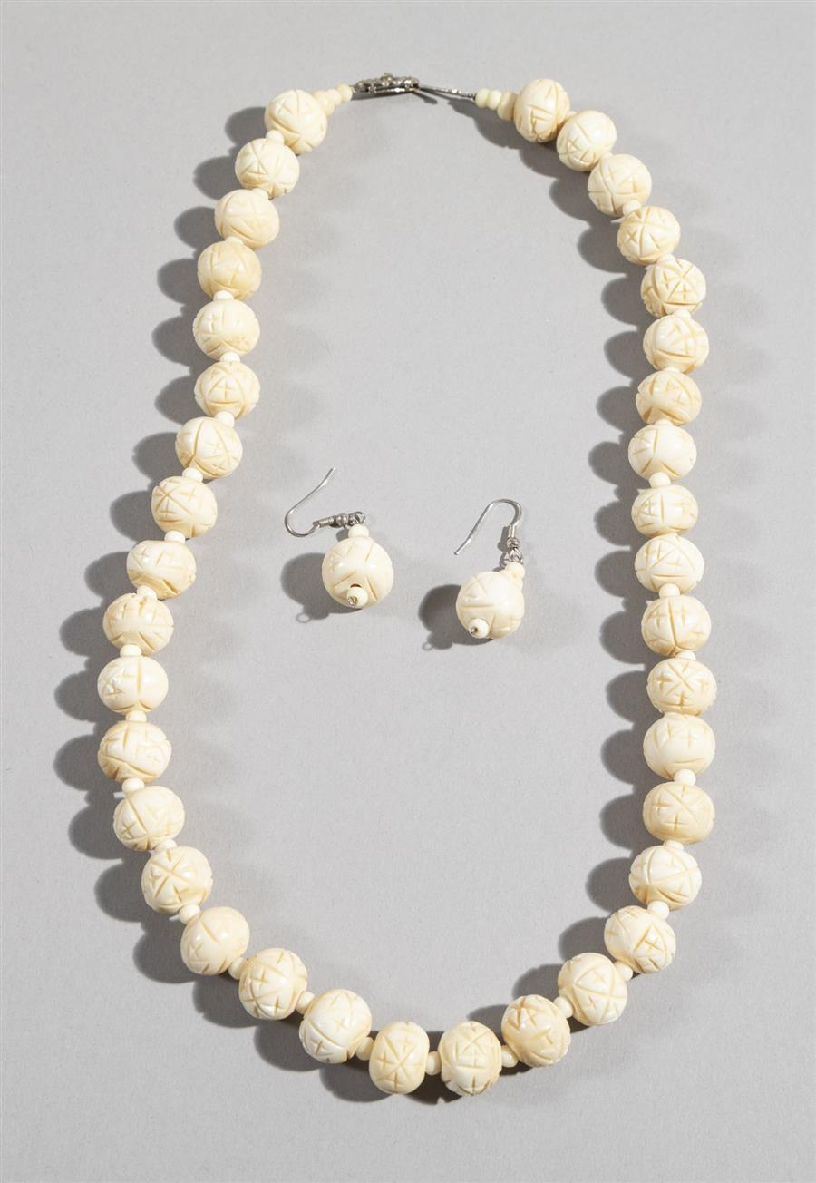 Vintage Carved Bone Necklace And Earrings