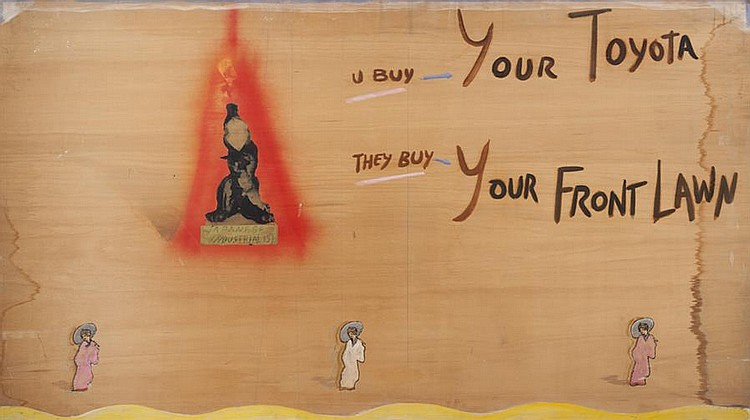 Michael Byron, American (b. 1954), Japanese Industrialist #1, 1989, mixed media on plywood, 47 1/2 x 84 inches