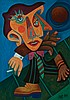 William Fett, American (1918-2006), The Man of the Street, 1989, oil on canvas, 28 x 19 3/4 inches, William Frederick Fett, Click for value