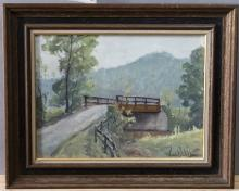Francis Clark Brown, Indiana (1908-1992), Landscape with bridge, oil on canvas,