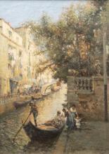 Nicholas Briganti, Massachusetts / Italy (1861-1944), Venice Canal, oil on canvas, 28 x 20 inches
