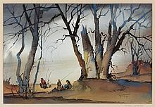 Reynold Weidenaar, American (1915-1985), figures in landscape, watercolor on paper, 14 x 20 1/2 inches