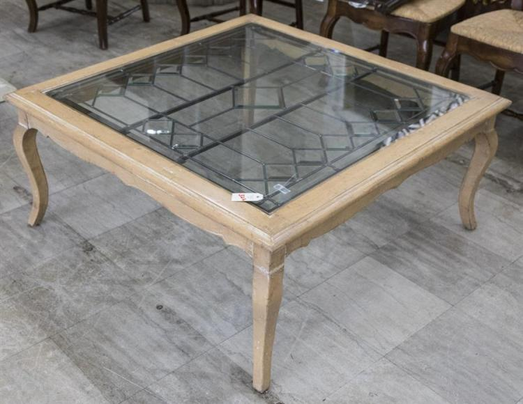 Natural wood coffee table featuring leaded glass insert with for Coffee tables 18 inches wide