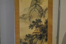 Asian hand painted scroll by So-shui from the Kyoto school, dated 1933, contained in original wooden box