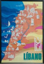 Framed travel poster depicting the country of Lebanon (written in Spanish)