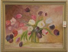Framed oil painting depicting a bouquet of flowers, artist signed and dated