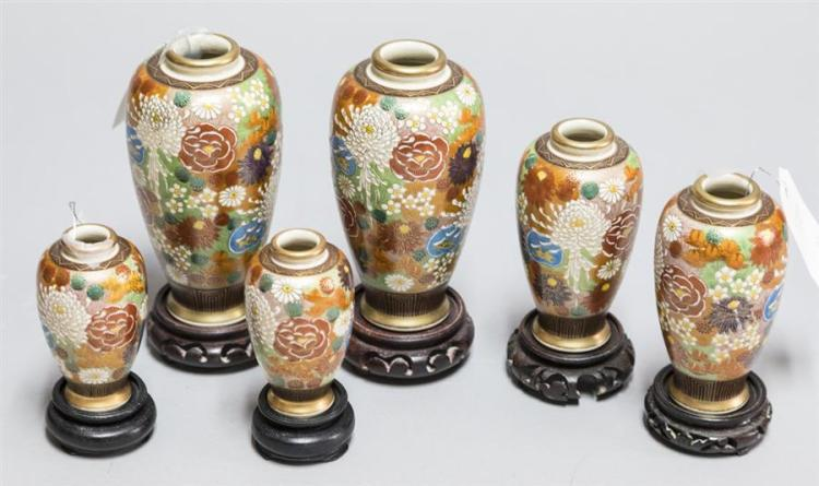 Six Antique Satsuma Chrysanthemum Vases With Wooden Stands