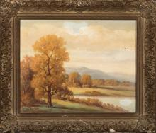 Howard Atkinson, American (20th century), Autumnal landscape, oil on canvas, 16 x 20 inches