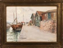 Anna Gardell-Ericson, Swedish (1853-1939), Boats docked, watercolor on paper, 13 1/2 x 19 1/2 inches