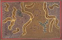 Ada Bird Petyarre, Australian (c. 1930-2009), Bush Tucker Dreaming, women's body paint for ceremony, acrylic on canvas, 35 x 53 inch..