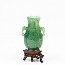 A SPINACH JADE VASE, QING DYNASTY, 19TH CENTURY