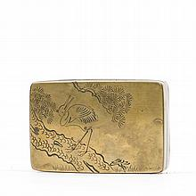 A PINE AND CRANE INK BOX, LATE QING EARLY REPUBLIC PERIOD