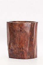 Chinese Box wood Brush Pot with distinctive grains