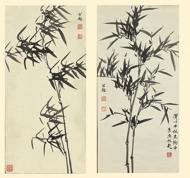 Bamboo Painting by Ye Gongchao x2