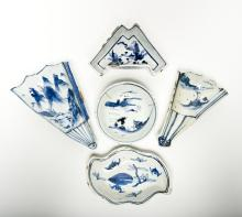 Five pieces of Blue and White Dishes