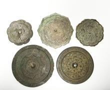 Five Chinese Bronze Mirrors, Various Dates