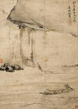 SHEN ZHOU (ATTRIBUTED TO, 1427-1509), A CHINESE PAINTING OF RED CLIFF PAINTING