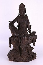Chinese Carved Bronze Goddess Guanyin Statue
