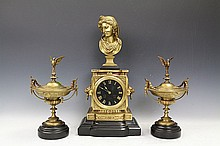 French Gilt-Bronze Mantel Clock